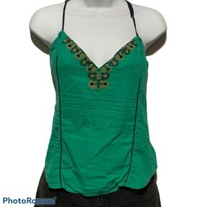 Free People Green Cami Top Embellished Bead Neck